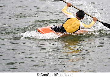 Kayaking - Image of a Kayak enthusiast in action.