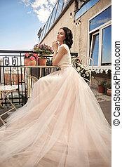 Pretty bride at summer terrace - Young pretty stylish bride...