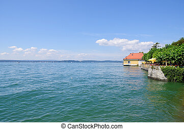 Lake Constance, located on the border of three countries,...
