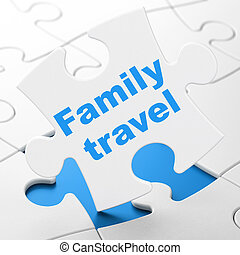 Tourism concept: Family Travel on puzzle background -...