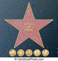 Hollywood Walk Of Fame. Vector Star Illustration. Famous Sidewalk Boulevard.
