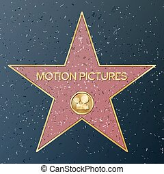 Hollywood Walk Of Fame. Vector Star Illustration. Famous...