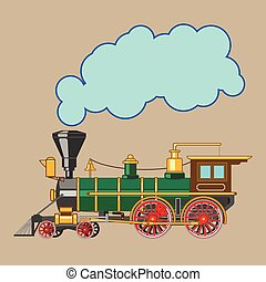 Bright cartoon steam locomotive