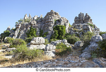 Karstic rock formations at Torcal de Antequera National...