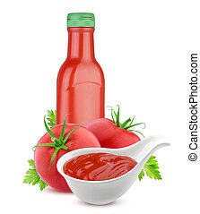 Tomato ketchup bottle and fresh tomatoes isolated on white background