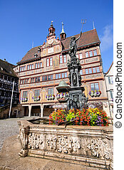 Tuebingen, Germany - Historic Town Hall and Market square in...