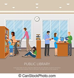 IPublic Library llustration - Public library composition...