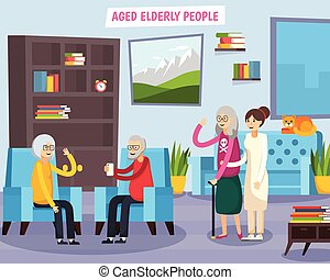 Aged Elderly People Orthogonal Composition - Colored flat...