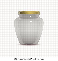 Empty Transparent Glass Jam Jar