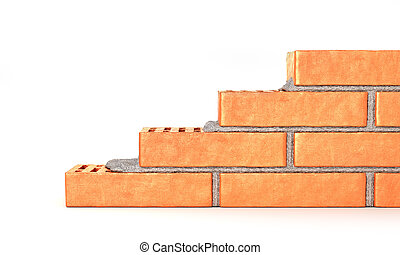 Part of brick wall in construction process on a white background. 3d illustration