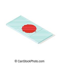 Blood on slide. - Isolated on white background. Isometric...