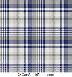 Blue gray check textile seamless pattern. Vector...