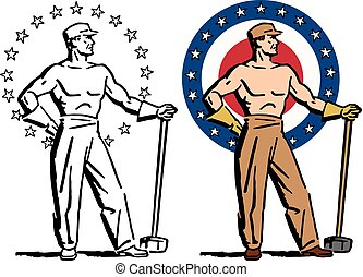 Strong American - A graphic image of a shirtless strong...