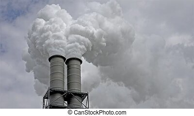 Chimneys producing huge amount of gas pollution