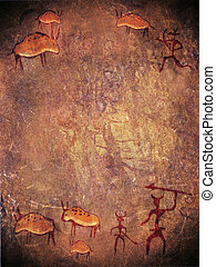 prehistoric paint with hunters and animals digital...