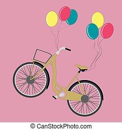 bike hanging on balloons