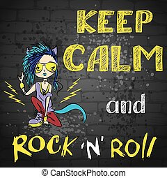 keep calm and rock and roll , hand drawn, vector background
