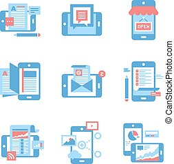 Mobile Applications concept - Abstract vector set of flat...