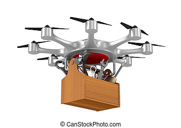 octocopter with toolbox on white background. Isolated 3d illustration