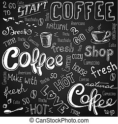 coffee to go, cups, mugs, beans and lettering types - Vector...