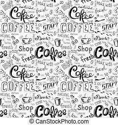 seamless doodle coffee pattern on white background ,hand...