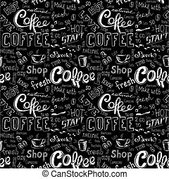 seamless doodle coffee pattern on black background ,hand...