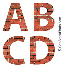 Set vector brick alphabet. Concept on a white isolated...