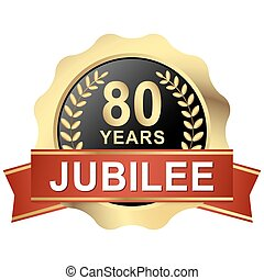 button 80 years jubilee - gold button with red banner for 80...