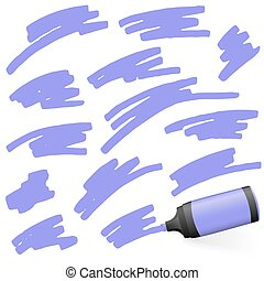 colored highlighter with markings - purple colored high...