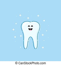 Healthy tooth icon - Smiling cartoon tooth character on blue...