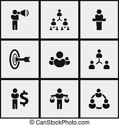 Set Of 9 Editable Cooperation Icons. Includes Symbols Such As Commander, Partnership, Goal. Can Be Used For Web, Mobile, UI And Infographic Design.