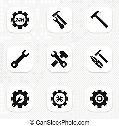 Set Of 9 Editable Toolkit Icons. Includes Symbols Such As...