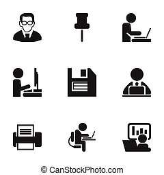 Set Of 9 Editable Bureau Icons. Includes Symbols Such As Printing Machine, Worker In Laptop, Marker And More. Can Be Used For Web, Mobile, UI And Infographic Design.