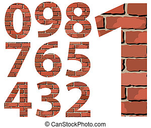 Set vector brick digit alphabet (digit) - Set vector brick...