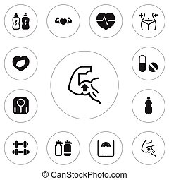 Set Of 12 Editable Sport Icons. Includes Symbols Such As Fitness Drink, Weight Measurement, Muscle And More. Can Be Used For Web, Mobile, UI And Infographic Design.