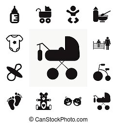 Set Of 12 Editable Child Icons. Includes Symbols Such As Plush Animal, Carriage, Tricycle And More. Can Be Used For Web, Mobile, UI And Infographic Design.