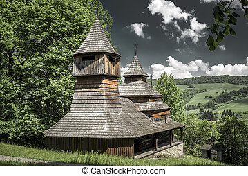 The Greek Catholic wooden church of St Cosmo and Damian,...