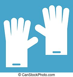 Rubber gloves icon white isolated on blue background vector...