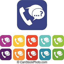Phone sign and support speech bubbles icons set - Phone sign...