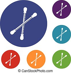 Cotton buds icons set in flat circle red, blue and green...