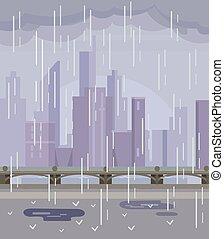 Rainy empty city. No people. Vector flat cartoon...