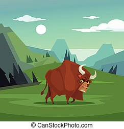 Angry bull character grazing in field. Vector flat cartoon...