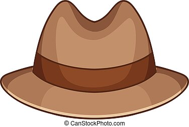 Trilby icon, cartoon style - Trilby icon. Cartoon...