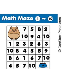 Maze game, animals theme. Kids activity sheet. Mathematics labyrinth with numbers. Counting from one to ten