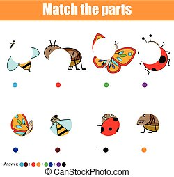 Matching children educational game. Kids activity. Match insects parts. Find missing puzzle