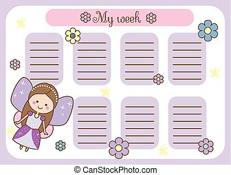 Kids timetable with cute fairy character. Weekly planner for children girls. School schedule design template