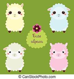 kawaii,  CÙte, dzieciaki, Zwierzęta, lama, Fason, Ilustracja, Alpaka, Litery, Wektor, niemowlęta,  lamas, Majchry, rysunek, szczęśliwy