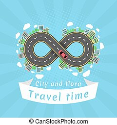 Infinity road. Travel time. Cartoon red car. The...