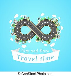 Infinity road. Travel time. A cartoon red car. The...