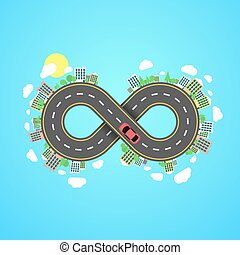 Infinity road. An endless journey through the world. The...